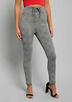 Gray Plaid Print Extra High Waisted Corset Pants