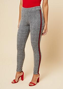 Gray Houndstooth Pattern Side Striped Fleece Skinny Pants