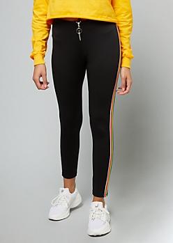 Black Rainbow Side Striped Ponte Pants