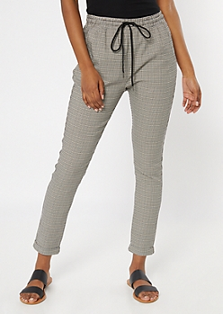 Taupe Plaid Print Cuff Hem Pants