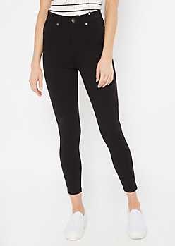 Black High Rise Pull On Ponte Pants