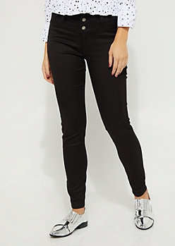 Black High Waisted Button Fly Skinny Pants