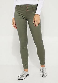 Olive High Waisted Button Fly Skinny Pants