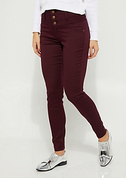 Burgundy High Waisted Button Fly Skinny Pants
