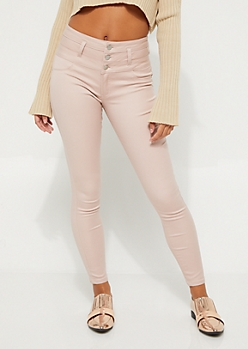 Pink High Waisted Button Fly Skinny Pants