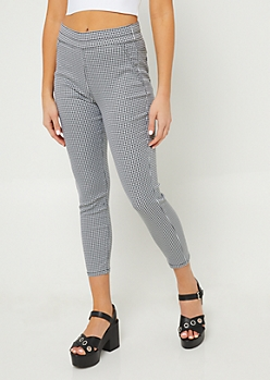 Black Gingham Skinny Ankle Pants