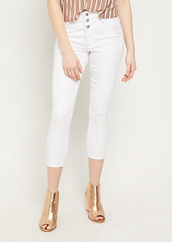 White Button Front Cropped Jeans