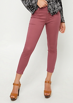 Burgundy Button Front Cropped Jeans