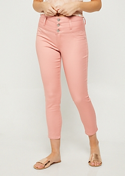 Coral Button Front Cropped Jeans