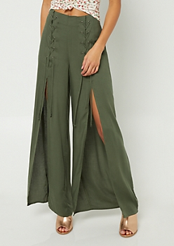 Olive Lace Up Split Seam Palazzo Pants