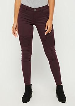 Burgundy Moto Skinny Pants