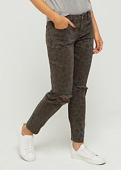 Leopard Distressed Skinny Pant