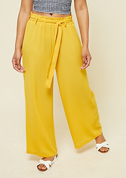 Dark Yellow Paperbag Waist Palazzo Pants