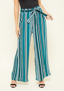 Green Striped Pattern Paperbag Waist Palazzo Pants