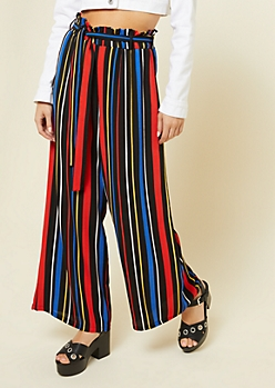 Primary Striped Pattern Paperbag Waist Palazzo Pants