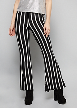 Black Striped Super Soft Mid Rise Flare Pants