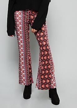 Burgundy Floral Print Super Soft Mid Rise Flare Pants
