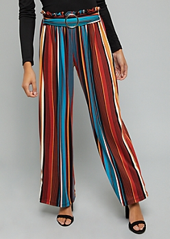 Teal Striped Super Soft Wide Leg Belted Pants