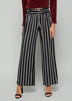 Black Striped Super Soft Wide Leg Belted Pants