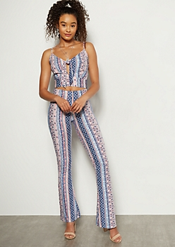 Navy Border Print Super Soft Flare Pants