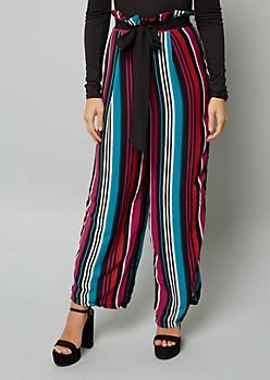Multi Color Paperbag Waist Striped Pants