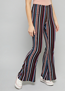 Light Blue Striped High Waisted Super Soft Flare Pants