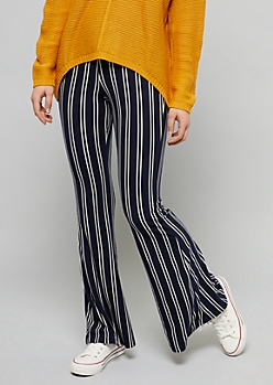 Navy Double Striped High Waisted Super Soft Flare Pants