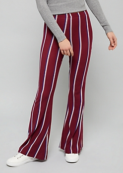 Burgundy Striped High Waisted Super Soft Flare Pants