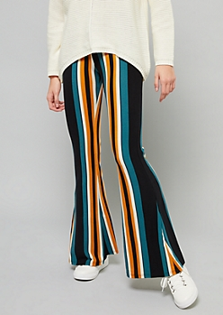 Dark Green Striped High Waisted Super Soft Flare Pants