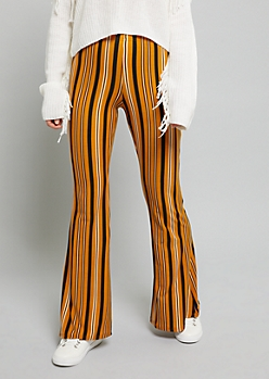 Mustard Striped High Waisted Super Soft Flare Pants
