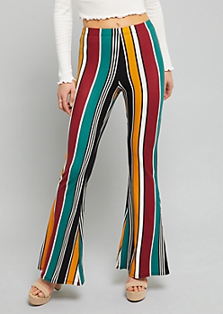 Green Wide Striped High Waisted Super Soft Flare Pants