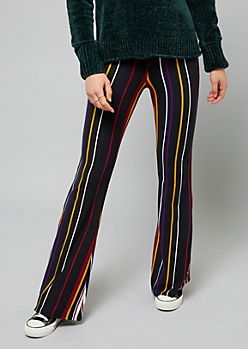 Black Wide Striped High Waisted Super Soft Flare Pants