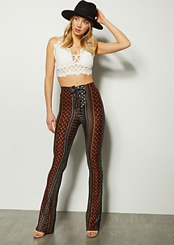 Maroon Border Print Lace Up Flare Pants