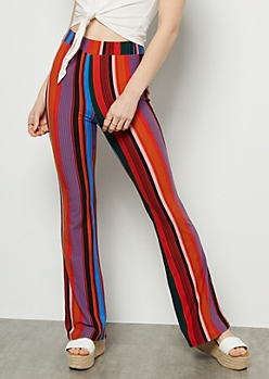 Red Striped Super Soft Festival Flare Pants