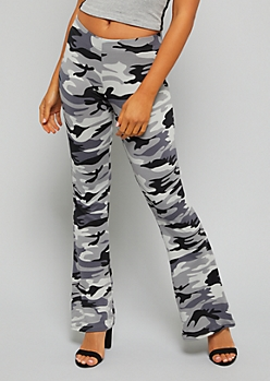 Gray Camo Print Soft Flared Pants