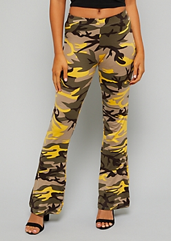 Mustard Camo Print Soft Flared Pants