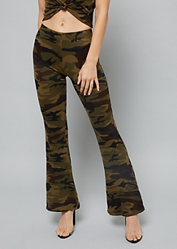 Olive Camo Print Soft Flared Pants