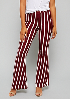 Burgundy Striped Mid Rise Soft Flared Pants