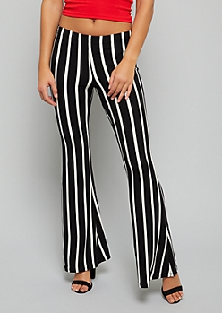 Black Striped Mid Rise Soft Flared Pants