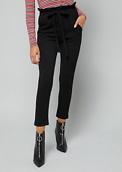 Black Crepe Cropped Paperbag Waist Pants