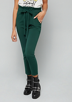 Green Cropped High Waisted Paperbag Waist Pants