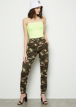 Red Fox Camo Print Buttoned Cargo Joggers