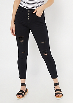 Black Button Down Distressed Skinny Jeans