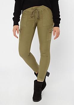 Green Twill Drawstring Cargo Pants