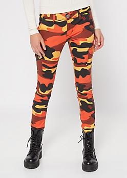 Orange Camo Print Cargo Pants