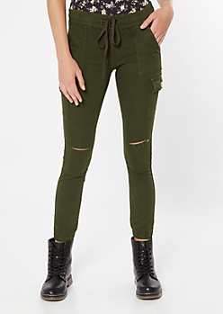 Olive Ripped Knee Cargo Joggers