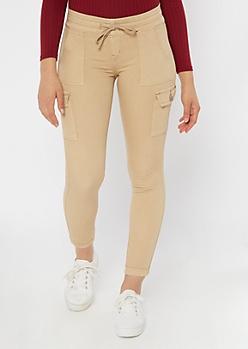 Khaki Twill Drawstring Cargo Pants