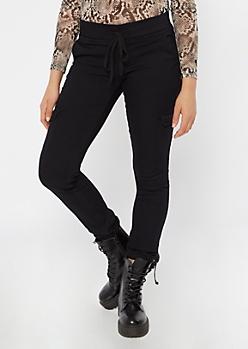 Black Twill  Drawstring Cargo Pants