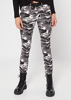 Black Camo Print Belted Cargo Joggers