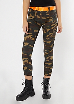 Camo Print Cargo Twill Stretch Pants